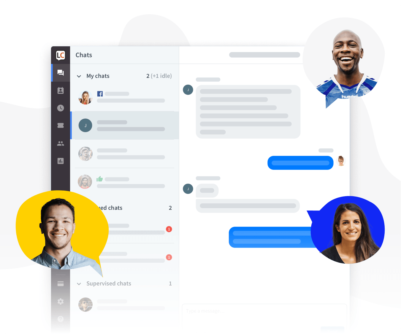 Customer support app view